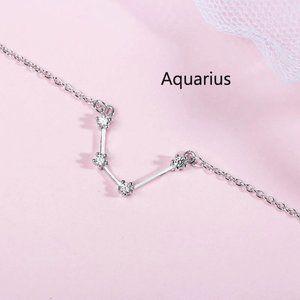*NEW 925 Sterling Silver Zodiac Bracelet-Aquarius